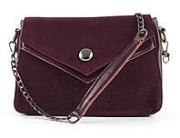 Невелика стильна шкіряна жіноча сумочка з замшевої лицьовою частиною зі стразами Solana art. 7315 Туреччина, фото 1
