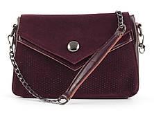 Небольшая стильная кожаная женская сумочка с замшевой лицевой частью со стразами Solana art. 7315 Турция