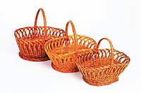 Набор плетеных корзин из лозы 3 шт
