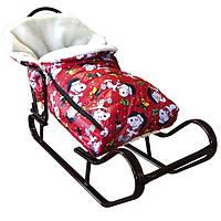 """Конверт дитячий """"Зимовий"""" в санки і коляску. Колір червоний, фото 1"""