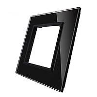 Рамка для розетки Livolo 1 пост, цвет черны, материал стекло (VL-C7-SR-12)