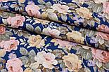 """Сатин ткань """"Густые винтажные розы"""" на тёмно-синем №1697с, фото 2"""