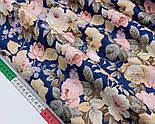 """Сатин ткань """"Густые винтажные розы"""" на тёмно-синем №1697с, фото 3"""