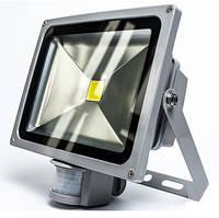 Светодиодный прожектор 30W, 220V, IP65, 2400lm, 6500K белый холодный, с датчиком движения