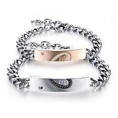 Парні браслети для двох закоханих половинки серця ланцюг медична сталь позолота цирконій гравірування
