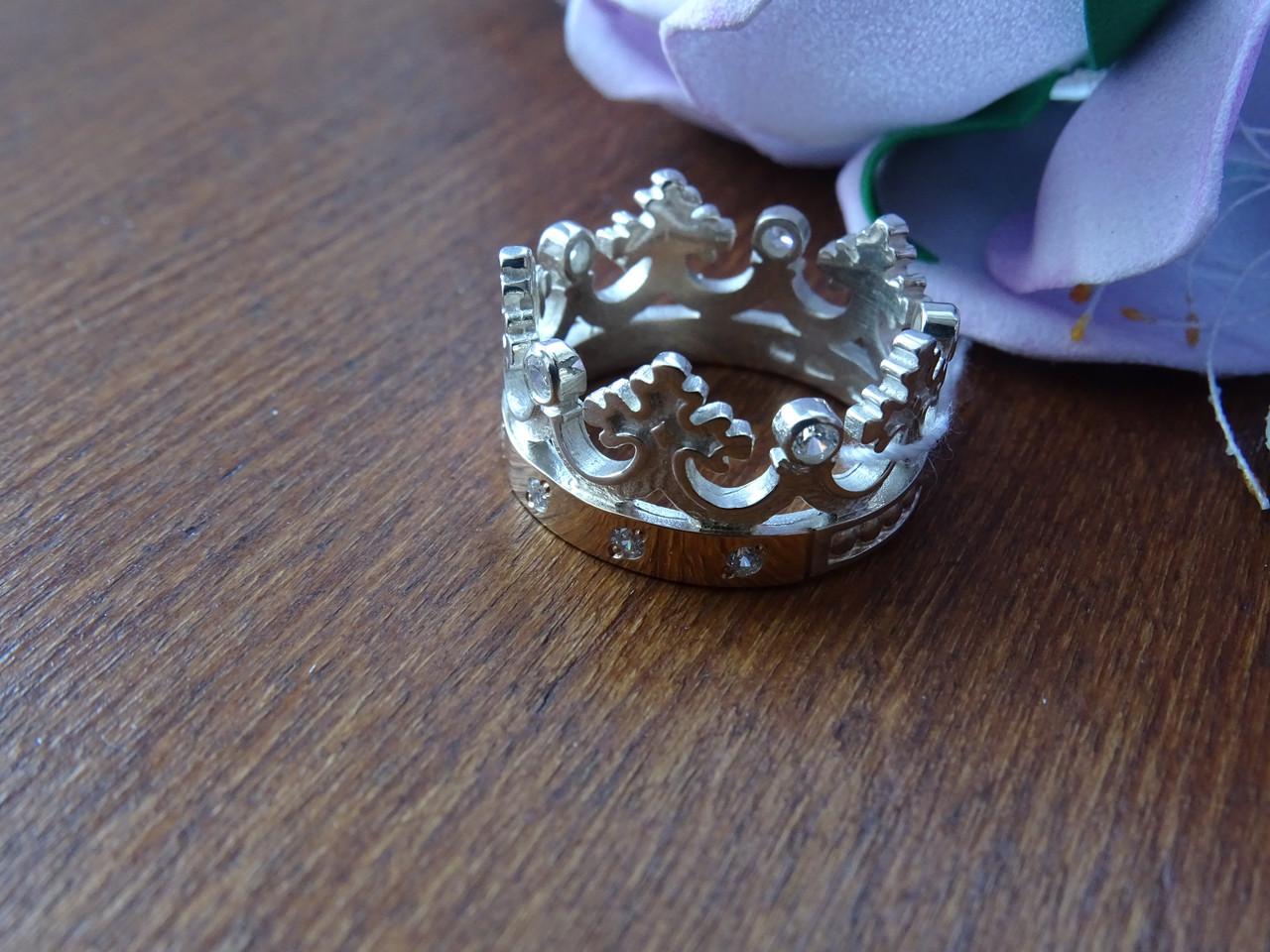 """Серебряное кольцо с золотыми пластинами """" Корона"""""""