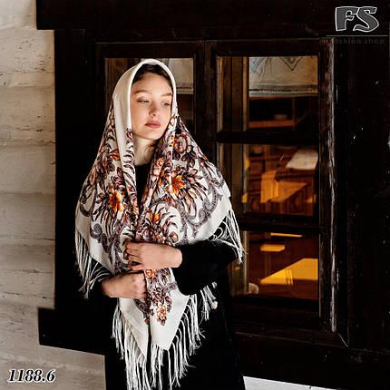 Шерстяной павлопосадский кремовый платок Василиса, фото 2