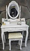 Туалетный столик трюмо с зеркалом Mirka + белый пуфик | Польша