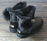 Зимние женские угги черные с серебристым Sopra, фото 4