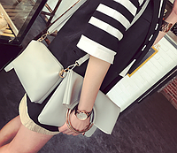 Набор из двух женских светло-серых сумок, фото 1