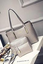Стильный набор женских сумок с плетением, 3в1, фото 2