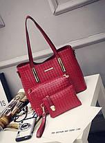 Стильный набор женских сумок с плетением, 3в1, фото 3