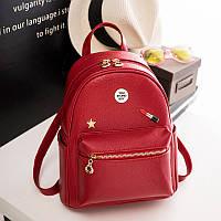 Женский рюкзак из экокожи молодежный красный, фото 1