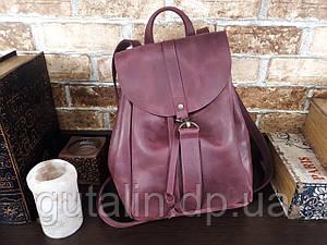 Женский рюкзак ручной работы из натуральной кожи На затяжках цвет фиолетовый