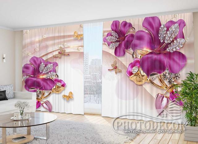 3D Цветы на шторах со стразами и драгоценностями