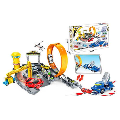 Детский автотрек - Набор машинок с запуском и вертолёт