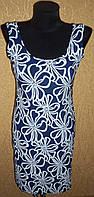 Оригинальное очаровательное голубое женское платье с синими цветами
