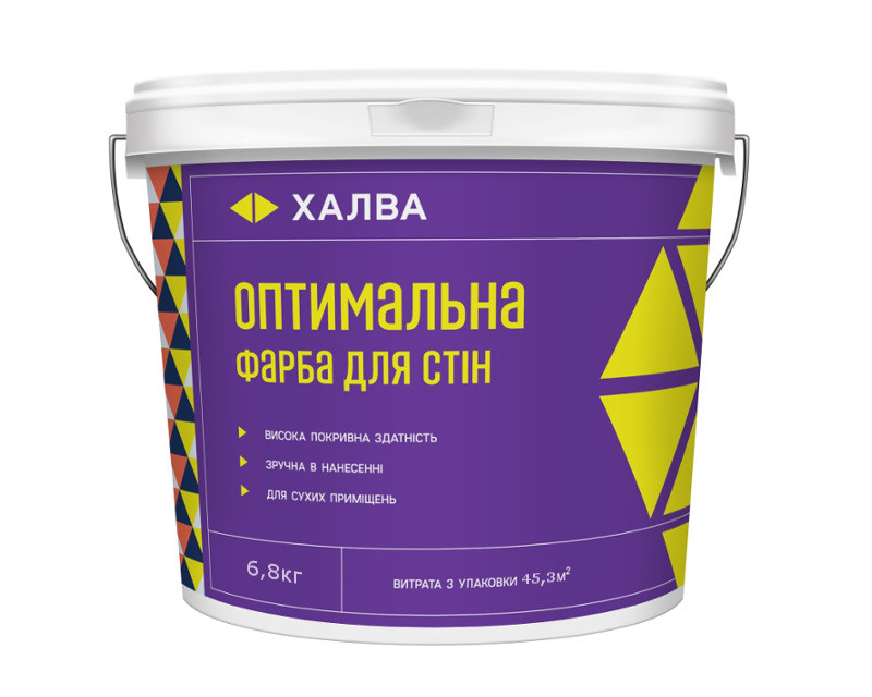 Краска акриловая ХАЛВА ОПТИМАЛЬНАЯ для стен 6,8кг