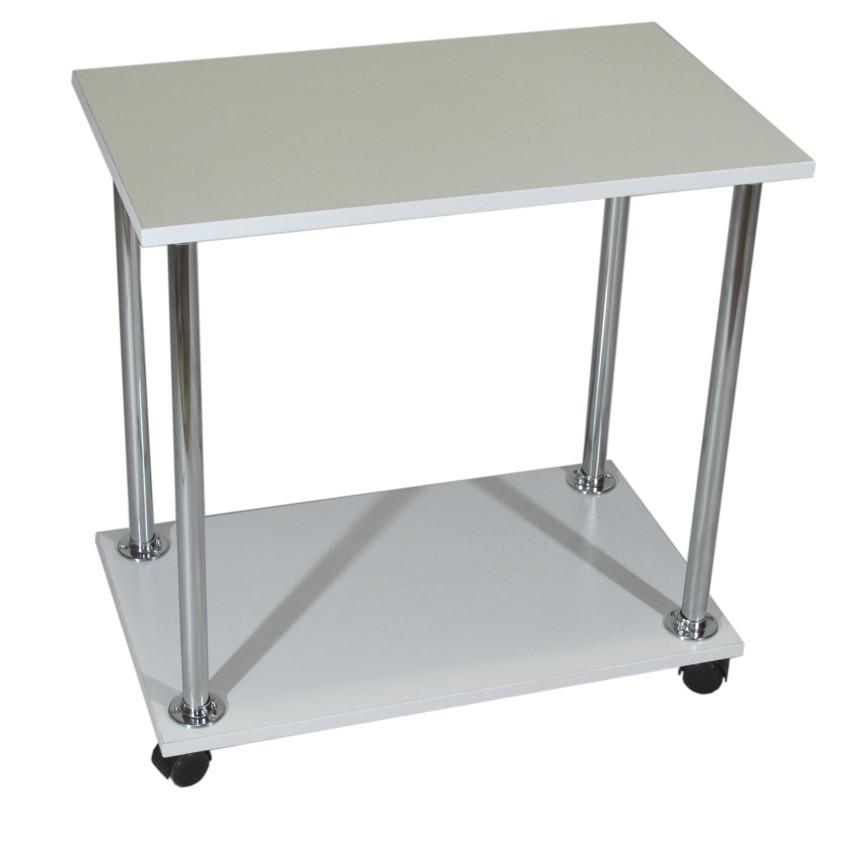"""Прикроватный журнальный столик """"Loco"""" белый для ноутбука или завтрака, на роликах (придиванный)"""
