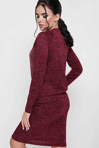 """Стильный женский костюм из ангоры: юбка карандаш и кофточка с длинными рукавами """"Madina"""" марсала, фото 2"""