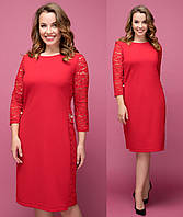 8669584a30d Красное деловое платье женское больших размеров с гипюром