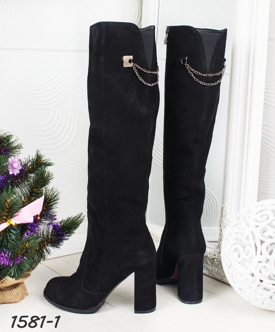 Сапоги еврозима на каблуке черные. Натуральный замш