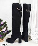 Сапоги еврозима на каблуке черные. Натуральный замш, фото 1