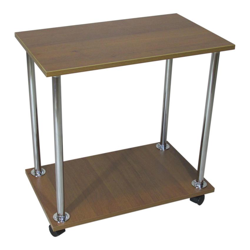 """Прикроватный журнальный столик """"Loco"""" орех для ноутбука или завтрака, на роликах (придиванный)"""