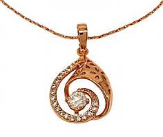 Кулон на цепочке фирмы XР, цвет советского золота. Камни: белый циркон. Длина цепочки: 40-45 см.Кулон: 30 мм.