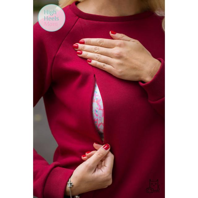 Тёплый свитшот для беременных и кормящих мам HIGH HEELS MOM (бордовый, размер S)