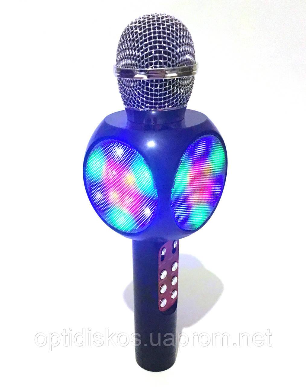 Беспроводной караоке микрофон с динамиком и цветомузыкой, WS-1816 (USB, microSD, AUX, FM, Bluetooth)