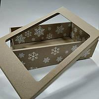 Подарочная  коробка  со снежинками  350х210х100 мм., фото 1