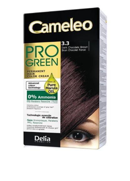 Крем-фарба Delia для волосся Pro Green з маслом Марули 3.3 Темний шоколад