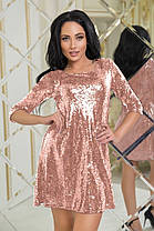 К555 Коктейльное  платье в пайетках  (размеры 42-50), фото 2