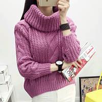 Женский теплый вязаный фиолетовый свитер с объемным воротником