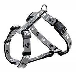 Шлея Trixie Silver Reflect H-Harness для собак нейлоновая, светоражающая, 75-100 см