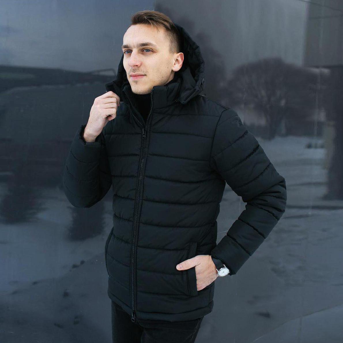 Зимняя куртка парка мужская черная размер S, M, L, XL