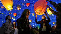 Небесные фонарики в форме сердца, китайские фонарики., фото 1