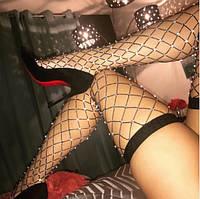 Сексуальные, модные чулки крупная сетка со стразами, черные