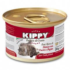 Паштет Kippy Cat для кошек с говядиной, сердцем и печенью, 200 г