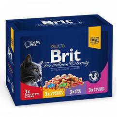 Консервы Brit Premium для кошек семейная тарелка ассорти 4 вкуса,1200 г