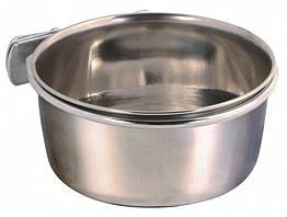 Миска Trixie Stainless Steel Bowl with Holder для птиц, металл, с винтовым креплением, 0.3 л