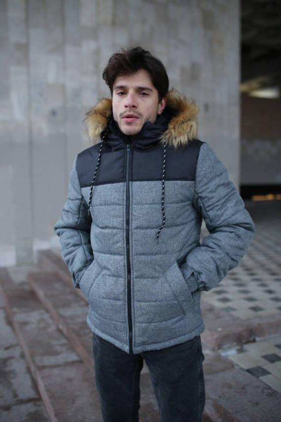 """Куртка мужская зимняя серая-черная """"Аляска"""" + подарок Перчатки, фото 2"""