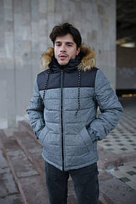 """Куртка мужская зимняя серая-черная """"Аляска"""" + подарок Перчатки"""