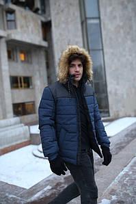 """Куртка мужская зимняя синяя-черная """"Аляска"""" + подарок Перчатки"""