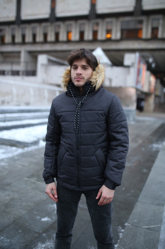 """Куртка мужская зимняя черная """"Аляска"""" + подарок Перчатки"""