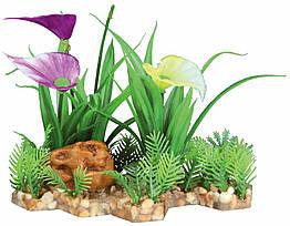 Декорация Trixie Plastic Plant in Gravel Bed для аквариума, пластик, на каменной подложке, 13 см