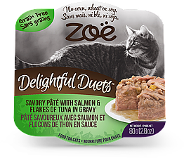 Консервы Zoe Delightful Duets Pate для кошек с курицей, тунцом и лососем, 80 г