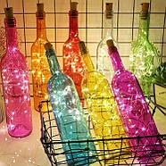 ГИРЛЯНДЫ с пробкой: для букетов, бутылок, декора (на батарейках) синий, розовый, разноцветный RGB, фото 3