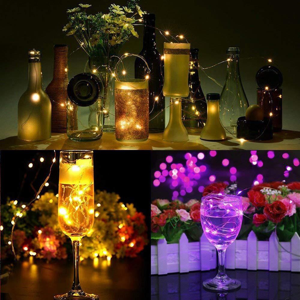 ГИРЛЯНДЫ с пробкой: для букетов, бутылок, декора (на батарейках) синий, розовый, разноцветный RGB